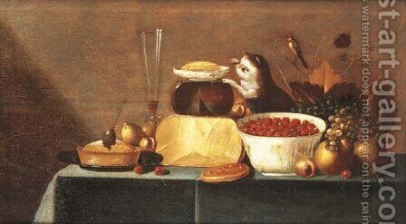 Cheeses, grapes, a bowl of strawberries by (after) Floris Gerritsz. Van Schooten - Reproduction Oil Painting
