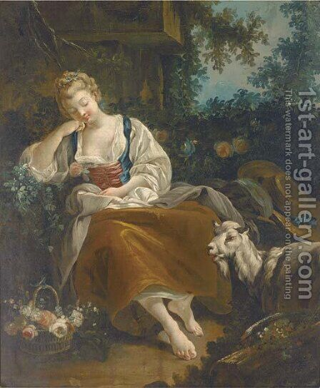 A shepherdess resting in a wooded clearing with a basket of mixed flowers and a goat nearby by (after) Francois Boucher - Reproduction Oil Painting
