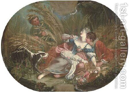 A wheat field with an amorous couple, surprised by a voyeur by (after) Francois Boucher - Reproduction Oil Painting