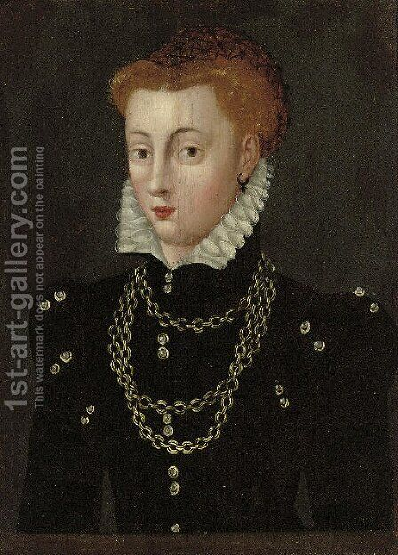 Portrait of a lady, traditionally identified as Mary Queen of Scots (1542-1587), half-length, in a black dress and white ruff with a gold necklace by (after) Clouet, Francois - Reproduction Oil Painting