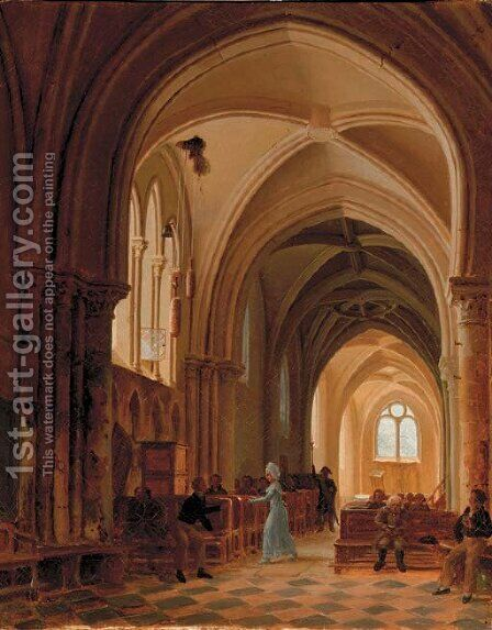 In a sunlit church by (after) Francois Marius Granet - Reproduction Oil Painting