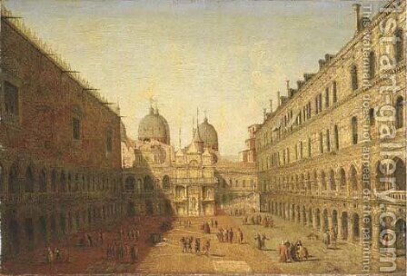 The courtyard of the Doge's Palace, Venice, looking North by (after) Francesco Albotto - Reproduction Oil Painting