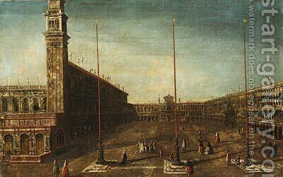 The Piazza San Marco, Venice, looking West towards San Geminiano by (after) Francesco Albotto - Reproduction Oil Painting