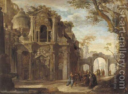 An architectural capriccio with Christ healing the sick by (after) Francesco Battaglioli - Reproduction Oil Painting