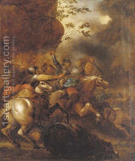 A cavalry skirmish 3 by (after) Francesco Giuseppe Casanova - Reproduction Oil Painting
