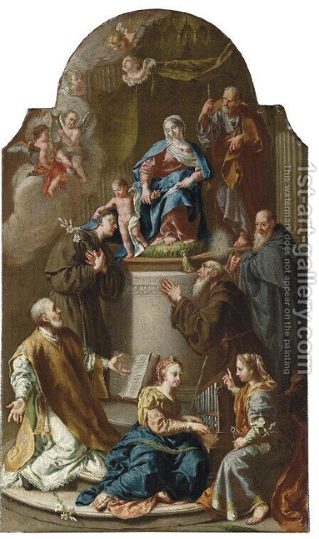 The Holy Family with Saints a ricordo by (after) Francesco Fontebasso - Reproduction Oil Painting