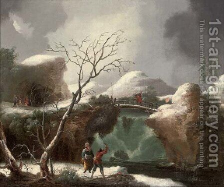 A winter landscape with figures by a waterfall by (after) Francesco Foschi - Reproduction Oil Painting