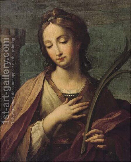 Saint Barbara by (after) Francesco Giovanni Gessi - Reproduction Oil Painting