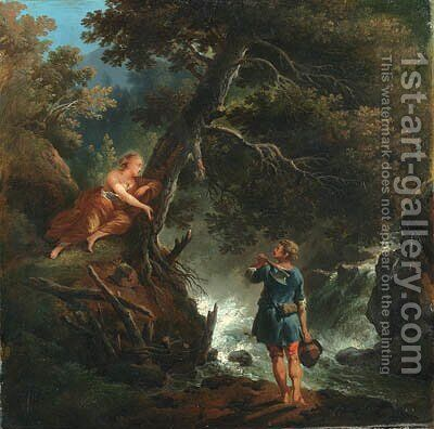 A Woodman and Nymph by a Waterfall by (after) Francesco Giuseppe Casanova - Reproduction Oil Painting