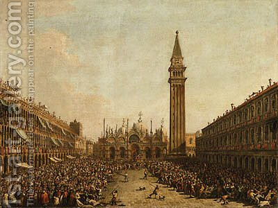 The Piazza San Marco, Venice, on the Doge's Coronation Day, with the Doge and the Admiral of the Arsenal being carried on the Pozzetto by (after) Francesco Guardi - Reproduction Oil Painting