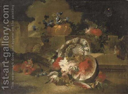A sliced watermelon, pomegranates, roses, tulips and other flowers near a stone wall in a landscape by (after) Francesco Lavagna - Reproduction Oil Painting