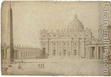 The facade of Saint Peter's, Rome, from the piazza by (after) Francesco Pannini - Reproduction Oil Painting