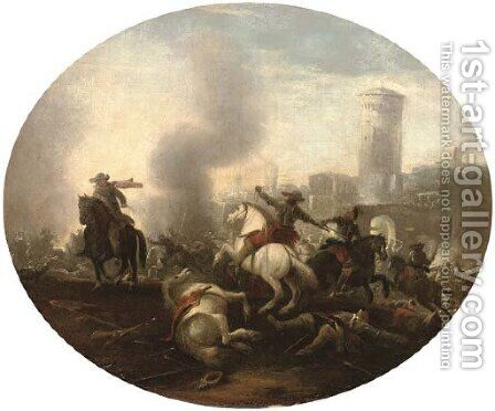 A cavalry battle before a castle by (after) Francesco Simonini - Reproduction Oil Painting