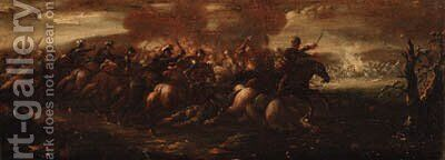 A cavalry battle between Crusaders and Turks by (after) Francesco Simonini - Reproduction Oil Painting