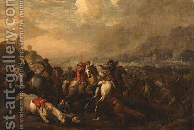 A cavalry battle 2 by (after) Francesco Simonini - Reproduction Oil Painting