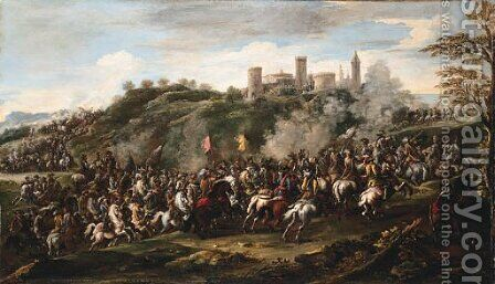 A cavalry charge beneath a hilltop fortified town by (after) Francesco Simonini - Reproduction Oil Painting