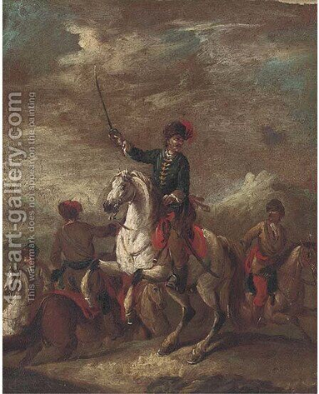 A cavalry officer leading his men by (after) Francesco Simonini - Reproduction Oil Painting