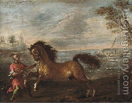 A coastal inlet with a Turk attending a horse by (after) Francesco Simonini - Reproduction Oil Painting