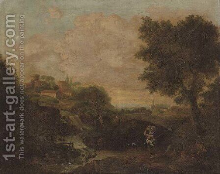 An Italianate river landscape with a woman holding a basket in the foreground, a village beyond by (after) Francesco Zuccarelli - Reproduction Oil Painting