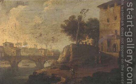 Figures before a bridge in an Italianate landscape by (after) Francesco Zuccarelli - Reproduction Oil Painting