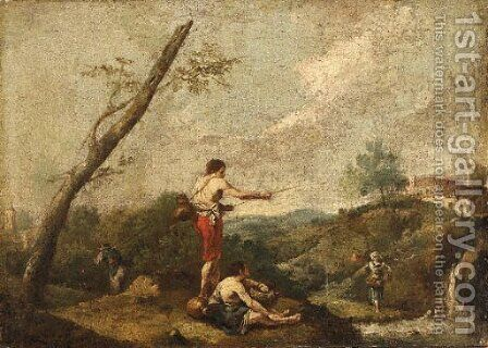 An Italianate Landscape with Fishermen on the Banks of a Stream, a Water Carrier nearby by (after) Francesco Zuccarelli - Reproduction Oil Painting