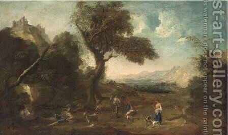 An extensive landscape with huntsmen in the foreground by (after) Francesco Zuccarelli - Reproduction Oil Painting