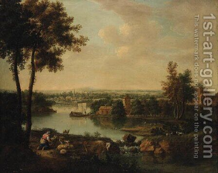An extensive River Landscape with a Maid milking Goats on a Bank, a Village beyond by (after) Francesco Zuccarelli - Reproduction Oil Painting