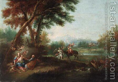The Rest on the Flight into Egypt by (after) Francesco Zuccarelli - Reproduction Oil Painting
