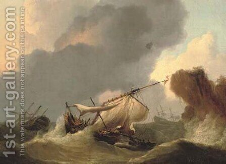 Ships in distress off a rocky headland by (after) Francis Sartorius - Reproduction Oil Painting