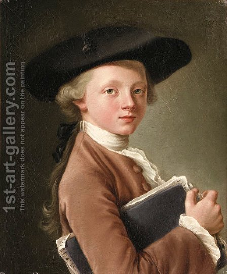 A Boy holding a Portfolio by (after) Franois-Hubert Drouais - Reproduction Oil Painting