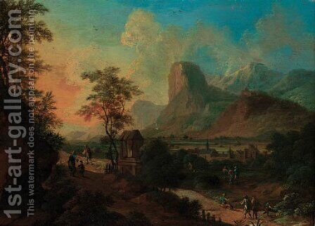 An Italianate landscape with figures on a pass by a shrine at sunset by (after) Frans De Paula Ferg - Reproduction Oil Painting