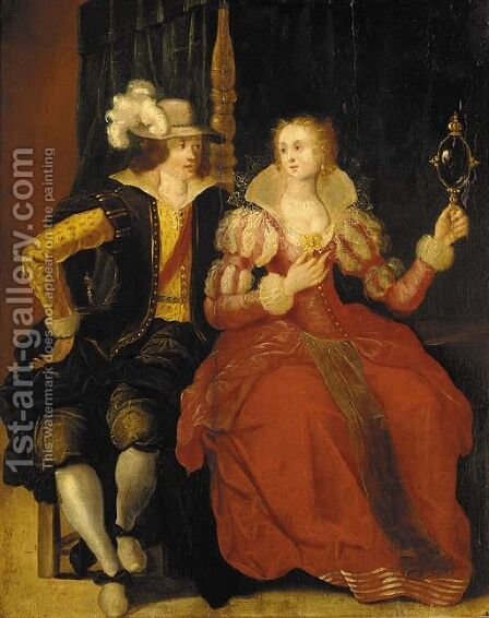 An elegant couple courting in a bedroom by (after) Frans II Francken - Reproduction Oil Painting