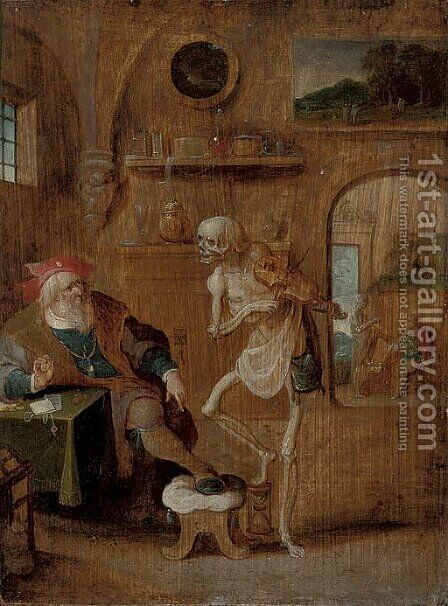 Death and the Miser by (after) Frans II Francken - Reproduction Oil Painting