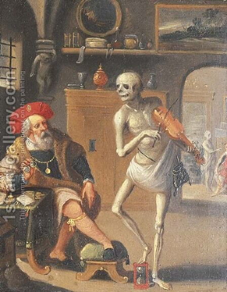Death and the Rich Man by (after) Frans II Francken - Reproduction Oil Painting