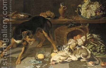Dogs and cats fighting in a kitchen by (after) Frans Snyders - Reproduction Oil Painting
