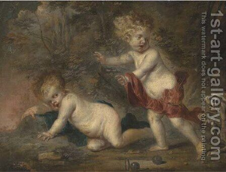 Putti disporting in a wooded clearing, surprised by two dogs by (after) Frans Wouters - Reproduction Oil Painting