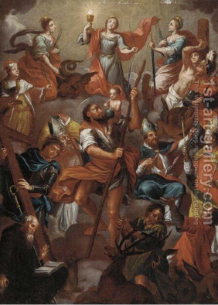 An assembly of Saints with Saint Christopher by (after) Franz Anton Maulbertsch - Reproduction Oil Painting