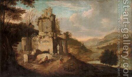 An Italianate landscape with figures by ruins by (after) Franz Ferg - Reproduction Oil Painting