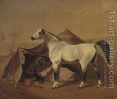 An Arab stallion tethered before a bedouin tent by (after) Franz Kruger - Reproduction Oil Painting