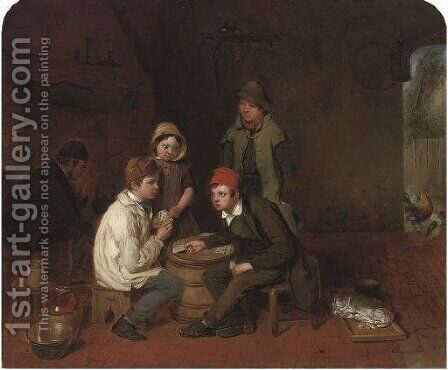 Playing for supper by (after) Frederick Daniel Hardy - Reproduction Oil Painting