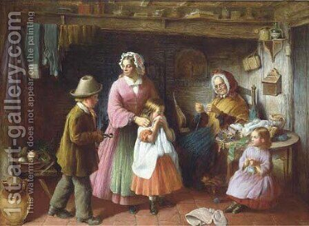 The toothache by (after) Frederick Daniel Hardy - Reproduction Oil Painting