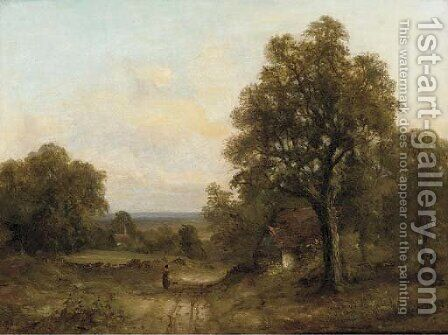 A figure on a track in a wooded landscape by (after) Frederick Waters Watts - Reproduction Oil Painting