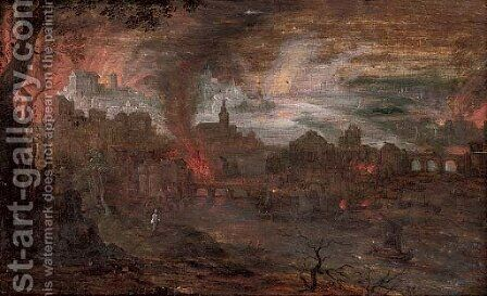 The destruction of Sodom and Gomorrah by (after) Frederik Van Valckenborch - Reproduction Oil Painting