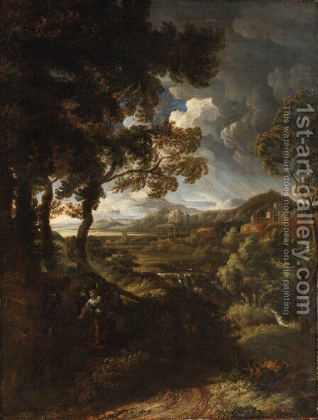 A wooded landscape with Elijah and the Angel by (after) Gaspard Dughet Poussin - Reproduction Oil Painting
