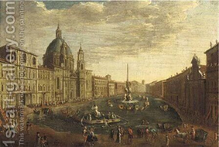 The Piazza Navona, Rome, flooded by After Caspar Andriaans Van Wittel - Reproduction Oil Painting