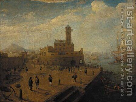A mediteranean harbour with figures on a quay by (circle of) Wittel, Gaspar van (Vanvitelli) - Reproduction Oil Painting