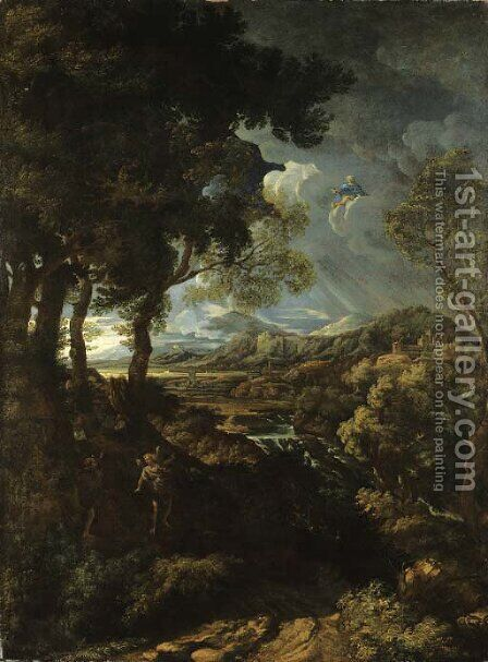 A wooded landscape with Elijah and the Angel by (after) Gaspard Dughet - Reproduction Oil Painting