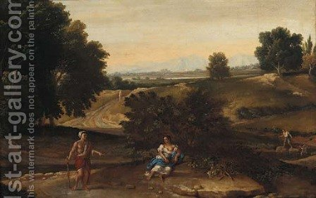 An Italianate landscape with figures resting near a stream by (after) Gaspard Dughet - Reproduction Oil Painting
