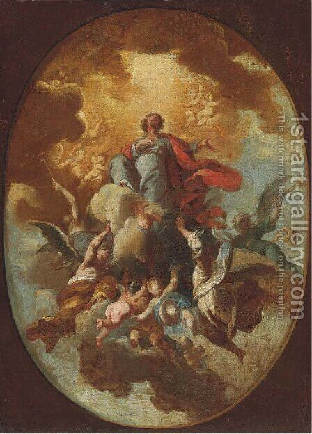 The Ascension of Christ a modello for a ceiling painting by (after) Gaspare Diziani - Reproduction Oil Painting