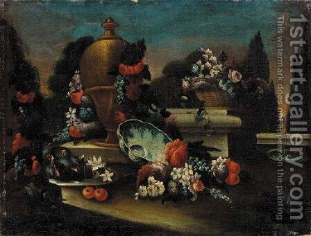 An urn with a garland of flowers, figs, cherries and flowers, in a landscaped park by (after) Gasparo Lopez - Reproduction Oil Painting